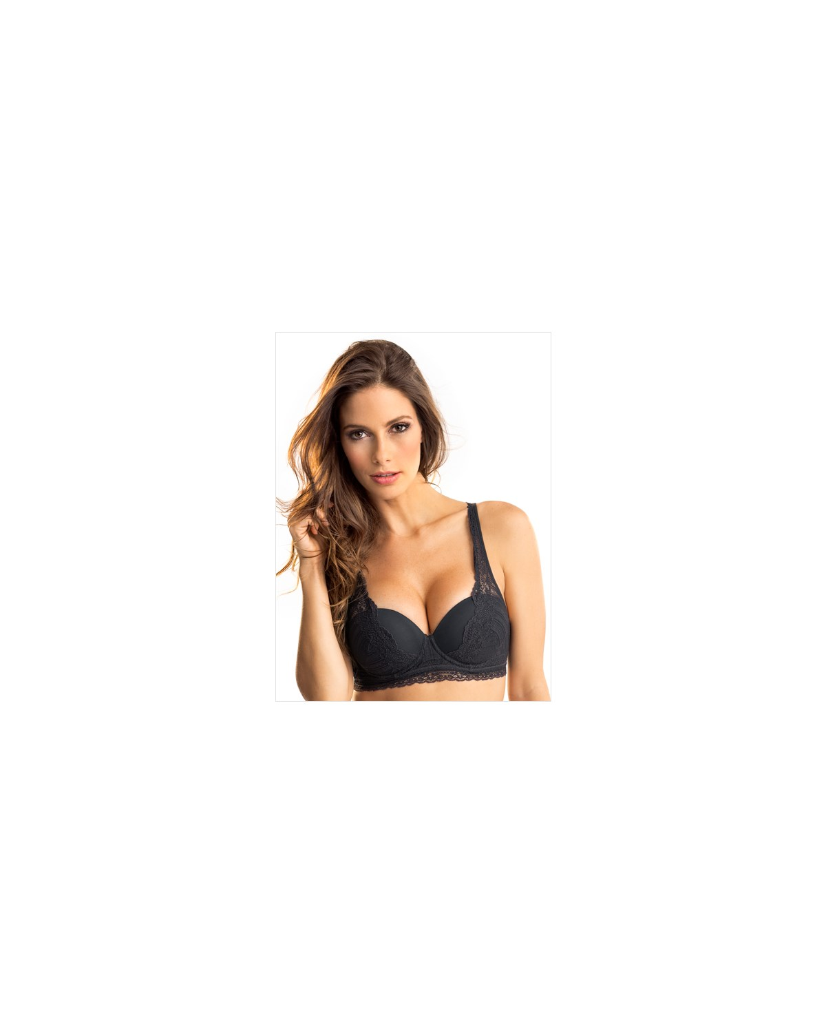 perfect push up sensual lace bra-700- Black-MainImage