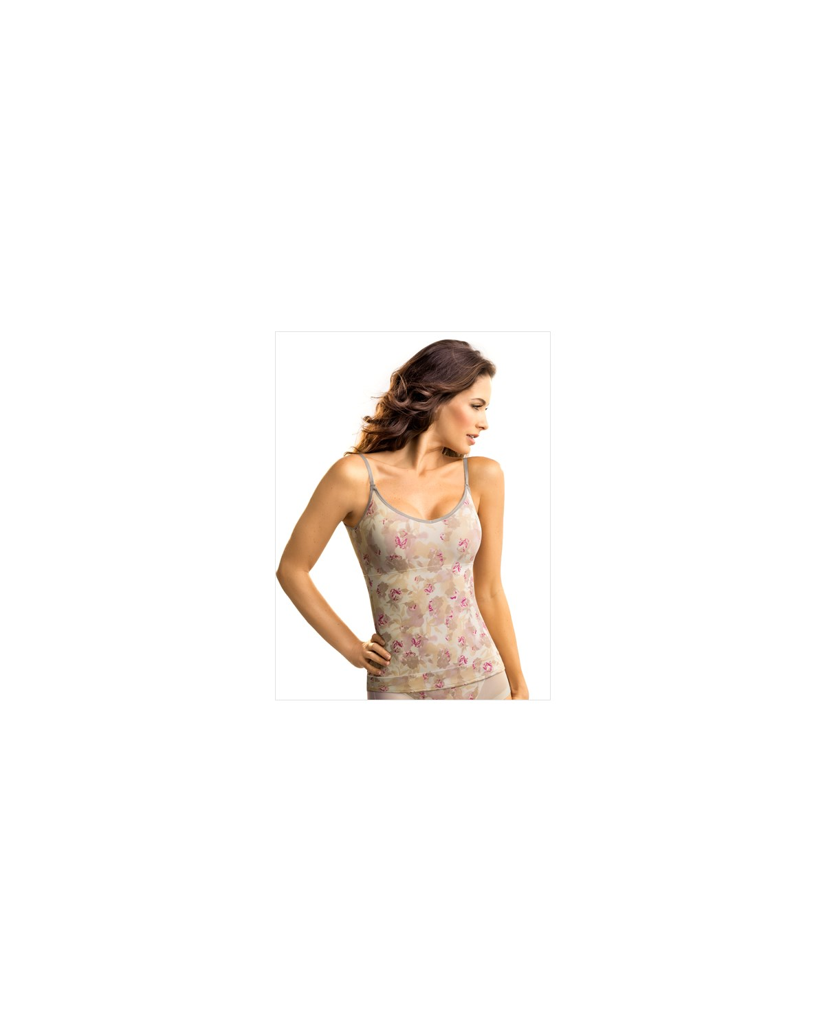 slimming tank-167- Flower/Nude-MainImage