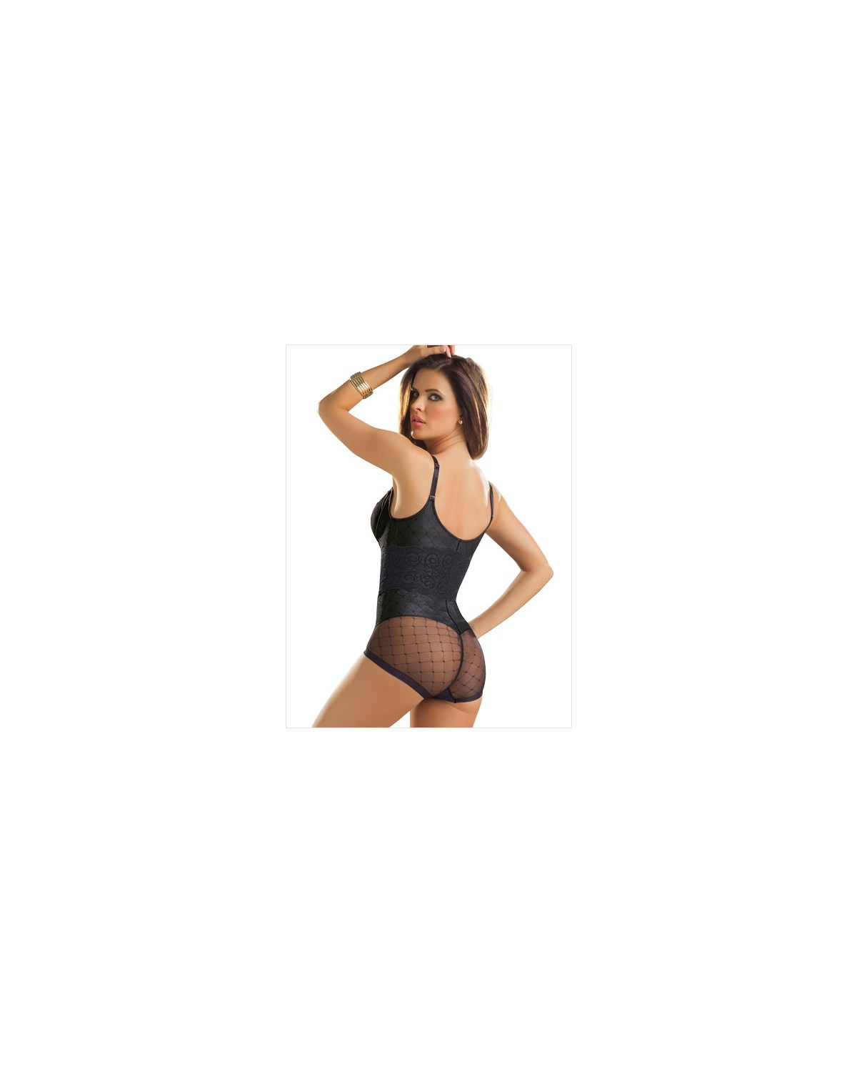 vintage interlace tummy control bodysuit-074- Black-MainImage