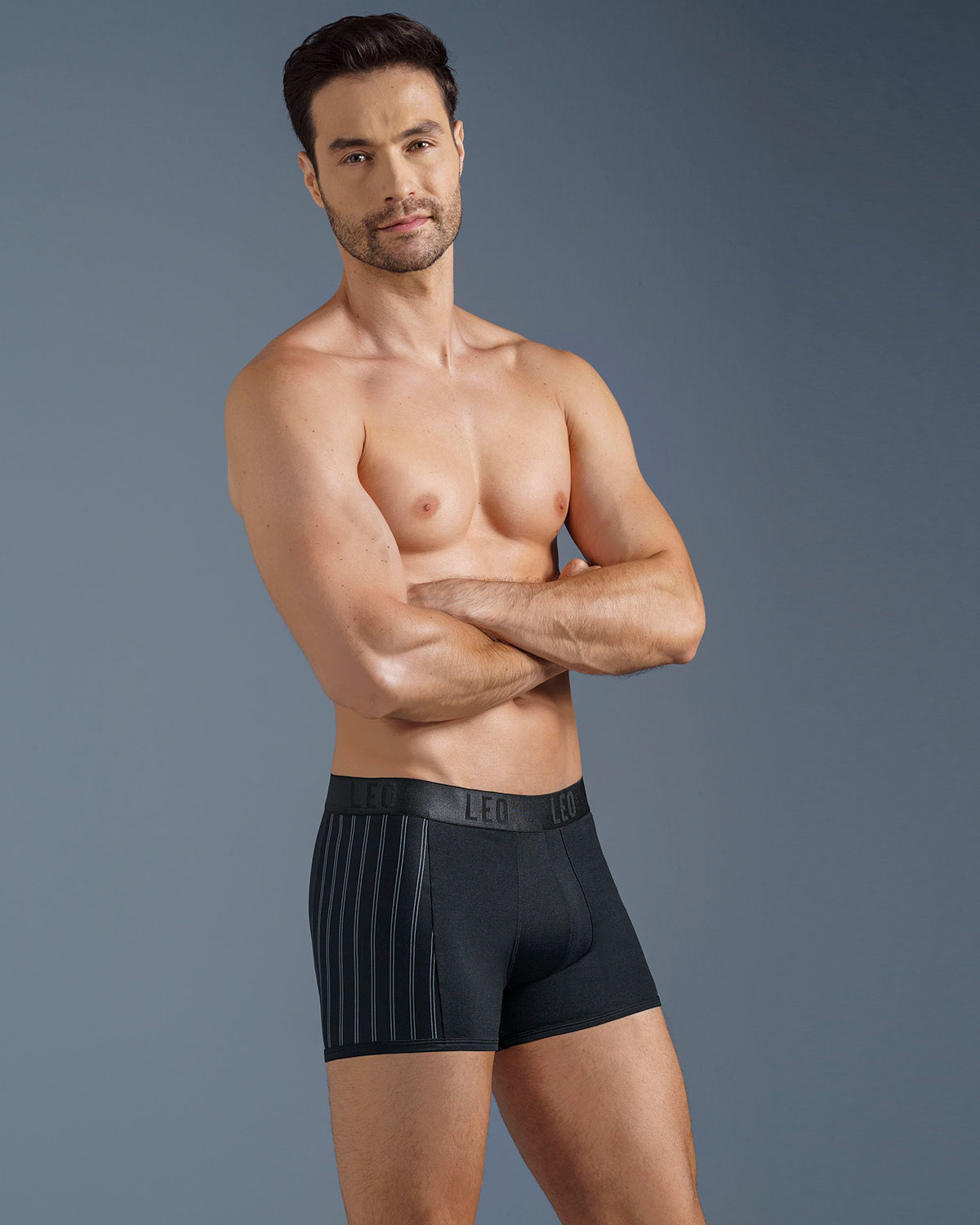 leo flex-fit boxer brief-713- Black/Stripes-MainImage