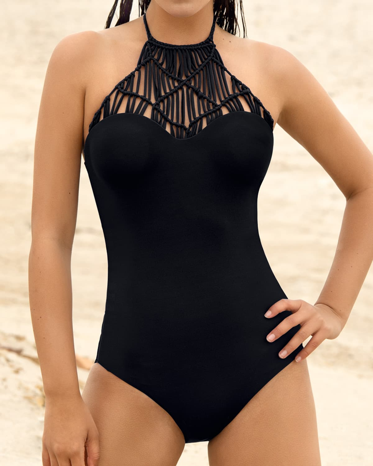 hand made knitted high neck one piece swimsuit--MainImage