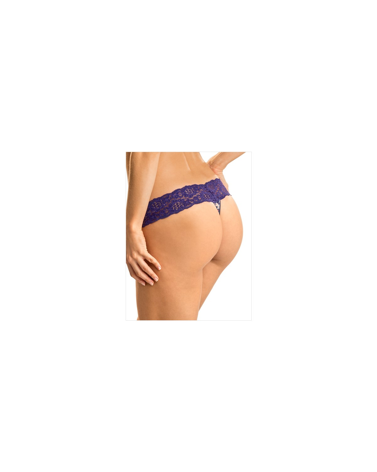 low rise thong in delicate lace-832- Purple & Pink Print-MainImage