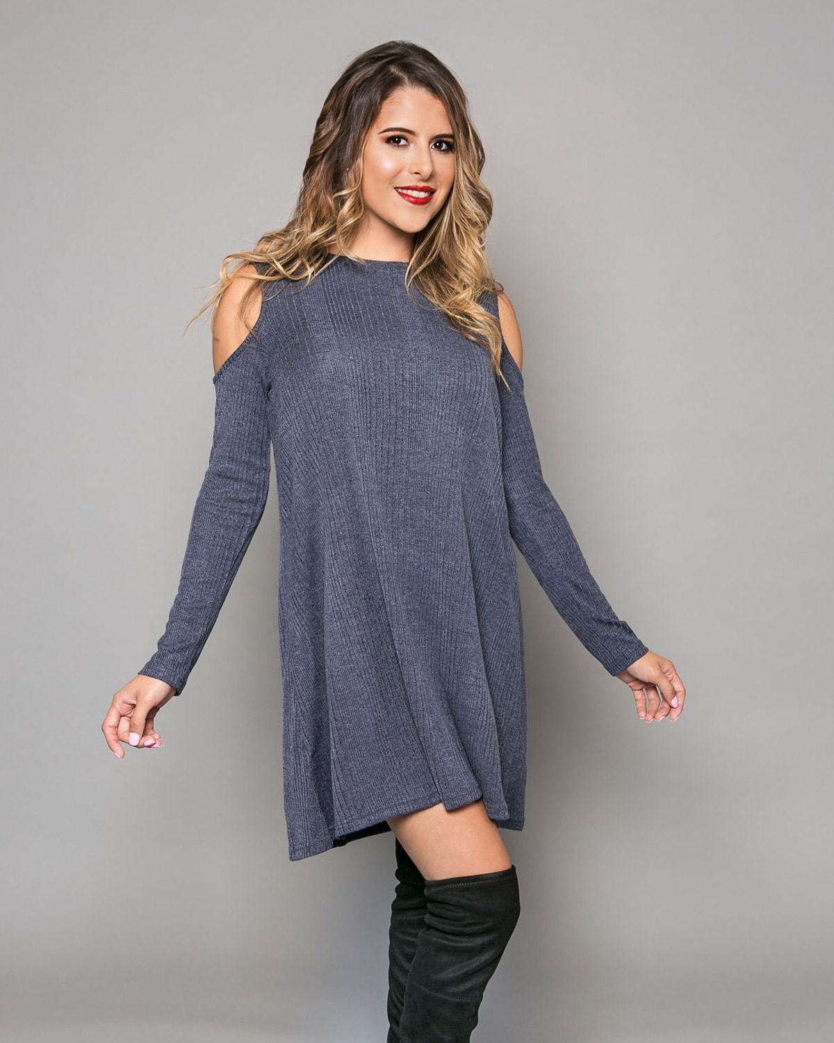 long sleeve ribbed shift dress with cold shoulder--MainImage