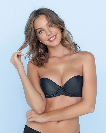 extreme push up strapless bra - add 2 sizes-700- Black-MainImage