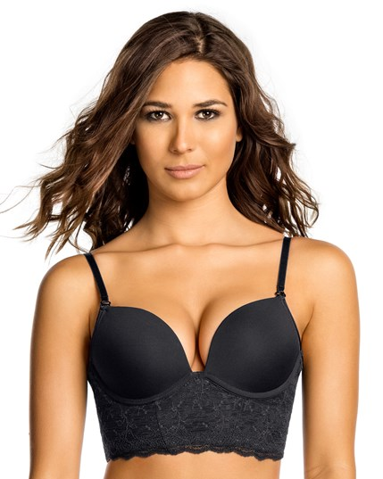 deep plunge bustier bra with extreme push up-700- Black-MainImage