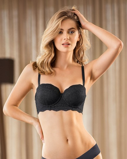 lace balconet push up bra-700- Black-MainImage