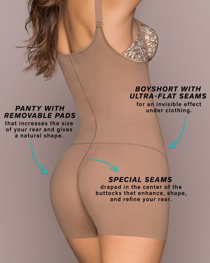 butt lifter tummy control body shaper boyshort with removable pads--MainImage