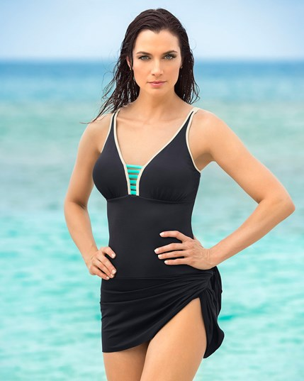 multiway skirt with firm control one-piece swimsuit--MainImage