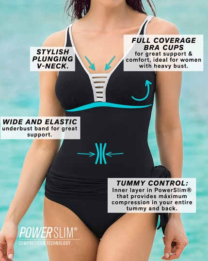 one piece swimsuit with tummy control and a multiway skirt--MainImage