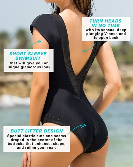glamorous one piece swimsuit with deep plunging v neck--MainImage