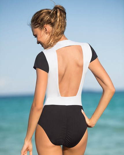 athletic one-piece swimsuit with zipper front--MainImage