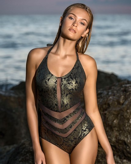 baroque one piece swimsuit with mesh cutouts leonisa