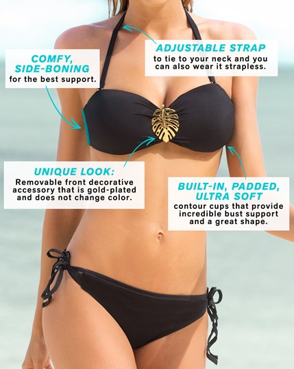 bandeau bikini with a removable gold coted decorative accessory--MainImage