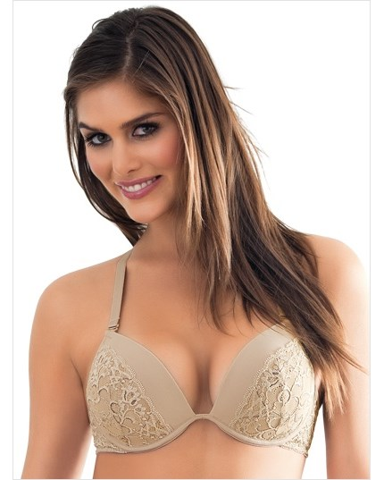 Deep Plunge Lace Push-Up Bra