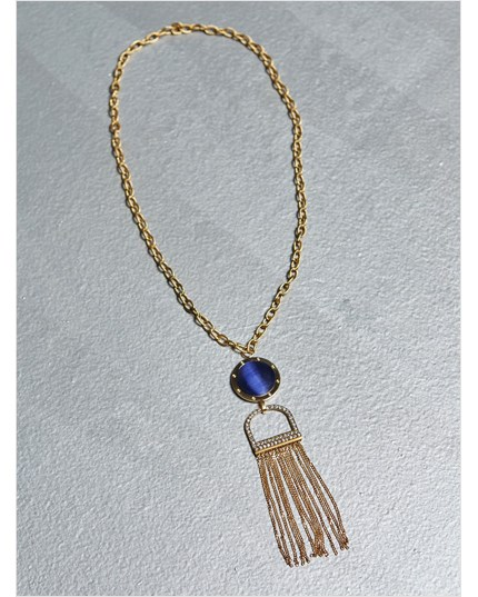 Gold Pendant Necklace with Tassels