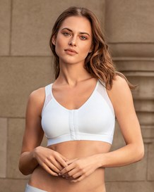 back support posture corrector wireless bra with adjustable front closure-000- White-MainImage