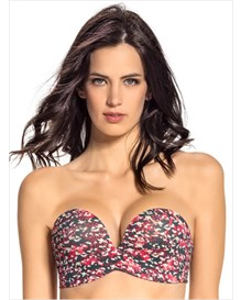 extreme push up strapless bra-153- Grey and Pink Print-MainImage