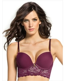 deep plunge bustier bra with extreme push up-165- Wine and Ivory-MainImage