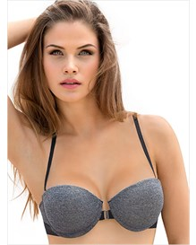 geometric straps balconet push-up bra-737- Gray-MainImage