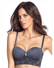 strapless long line push-up bra-517- Blue Print-MainImage