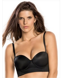 strapless long line push-up bra-700- Black-MainImage