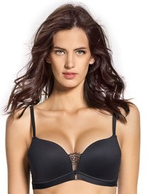light wireless high push-up bra with lace-700- Black-MainImage