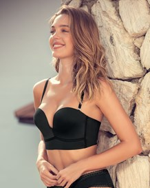 long line strapless push-up bra-700- Black-MainImage