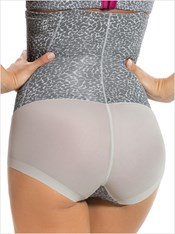 high waist bodysuit tummy shaper-742- Leopard Gray Print-MainImage