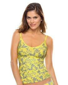 slimming tank-101- Neon Yellow/Flowers-MainImage