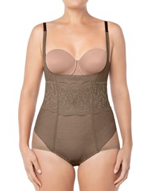 vintage interlace tummy control bodysuit-087- Brown-MainImage