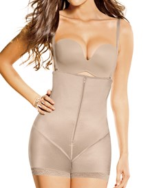 latex strapless bodysuit with booty booster-802- Beige-MainImage