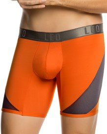 leo cool mesh sport boxer brief-205- Grey and Orange-MainImage
