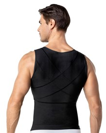 mens abs slimming body shaper with back support-700- Black-MainImage