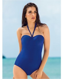 strapless extra firm control one-piece bathing suit-549- Blue-MainImage