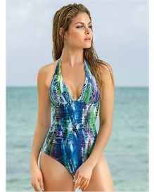 tropical moderate tummy control one-piece swimsuit-549- Blue-MainImage
