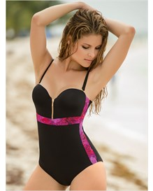 silhouette enhancing one-piece bathing suit-701- Black-MainImage