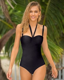 one piece strapless swimsuit with tummy control--MainImage