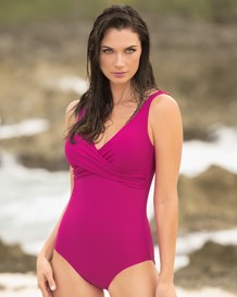 soft tummy control one-piece swimsuit with criss-cross top--MainImage