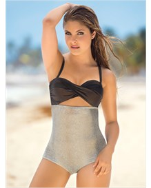 the slimming racerback twist-front one-piece swimsuit-898- Ivory-MainImage