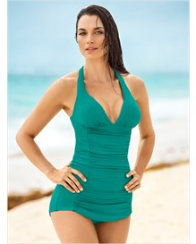 the ruched shaping one-piece bathing suit-692- Green-MainImage