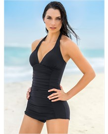 the ruched shaping one-piece bathing suit-700- Black-MainImage