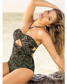 limited edition halter one-piece bathing suit-861- Dark Brown-MainImage