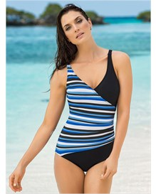 slimming wrap front one-piece bathing suit-713- Black-MainImage
