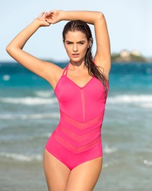 mesh cut-outs one-piece swimsuit-351- Fuchsia-MainImage