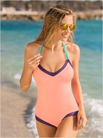 slimming halter one-piece bathing suit-215- Pink-MainImage