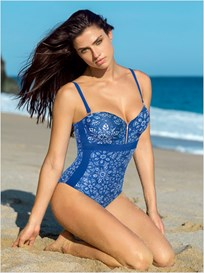 strapless figure-enhancing one-piece bathing suit with zipper--MainImage
