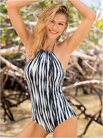 firm control high neck one-piece bathing suit-001- Animal Print-MainImage