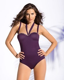 strapless firm control one-piece swimsuit-414- Red Wine-MainImage