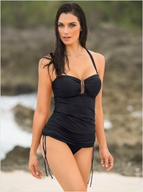strapless firm control tankini swimsuit-700- Black-MainImage