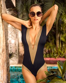 premium plunging neckline one-piece swimsuit-700- Black-MainImage